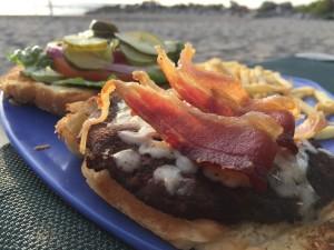 Bacon Cheeseburger on the Beach at Mayan Sea Garden, Puerto Vallarta